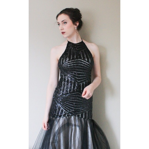 f370621716 Halter Mermaid Style Black Fitted Prom Dress